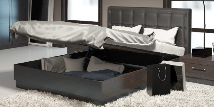 Ниша для хранения вещей в кровати с подъемным механизмом
